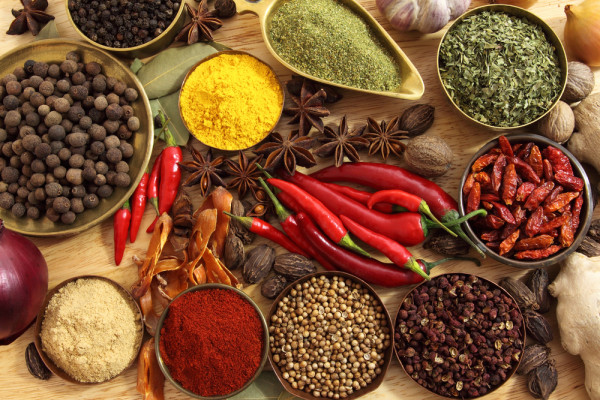 Variety of spices and seasonings from worldwide
